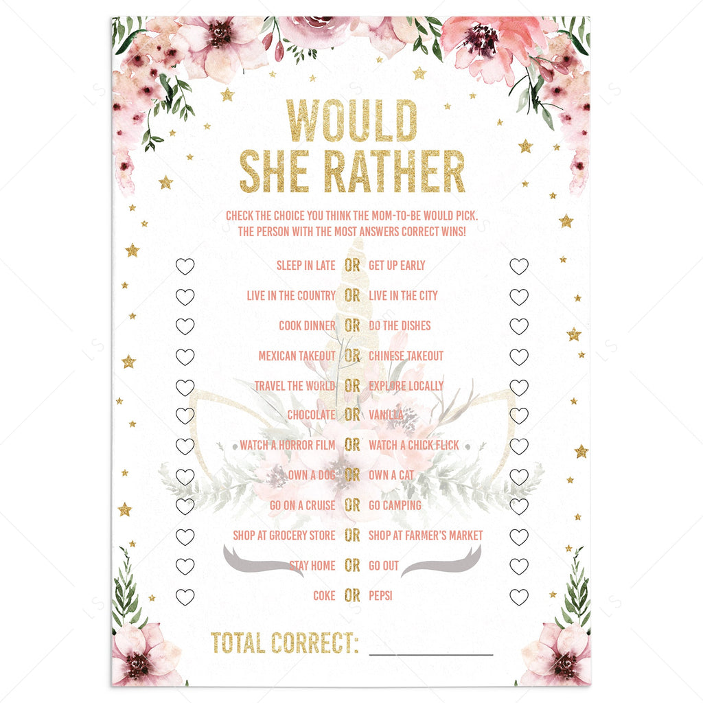 Would she rather game for baby shower pink and gold printable by LittleSizzle