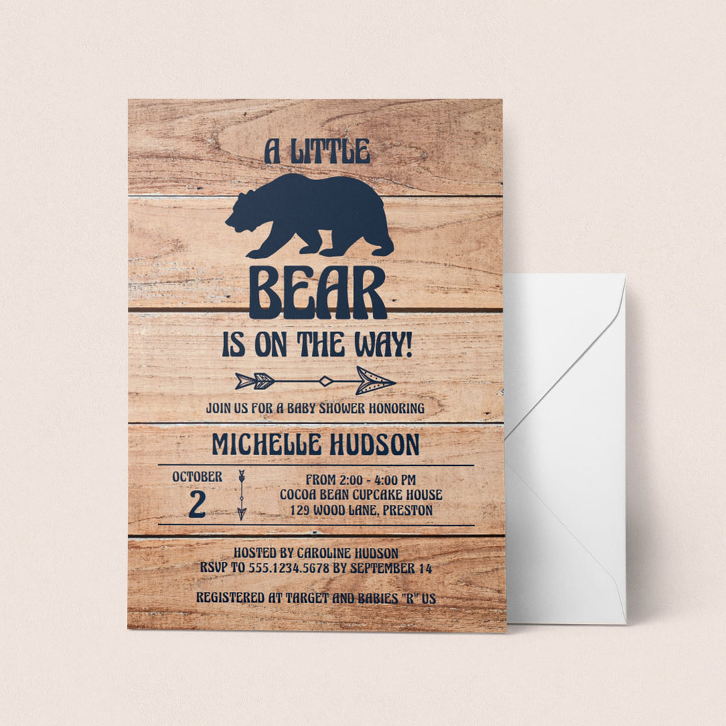 Rustic Baby Shower Invitation Template Gender Neutral by LittleSizzle