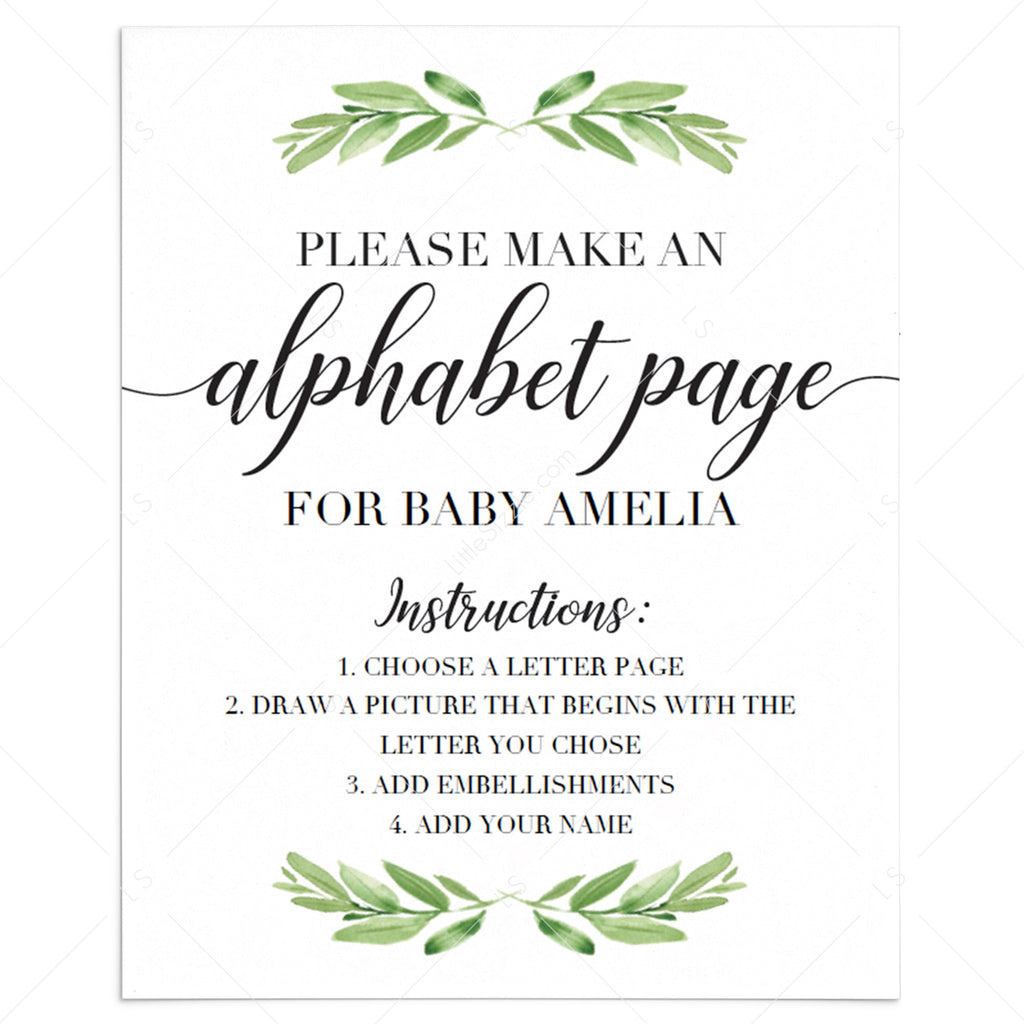 Baby shower alphabet book DIY printable by LittleSizzle