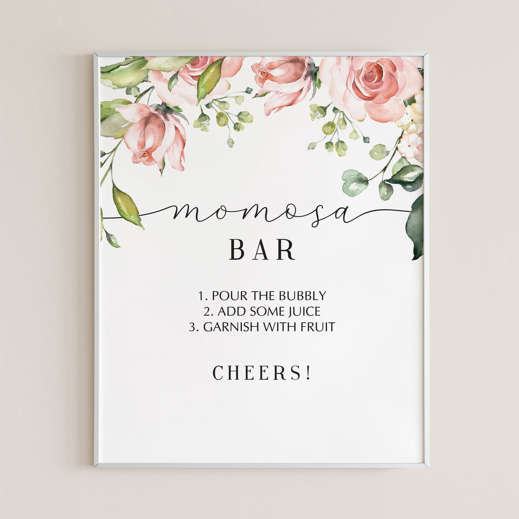 Mom-osa bar sign for baby shower printable by LittleSizzle
