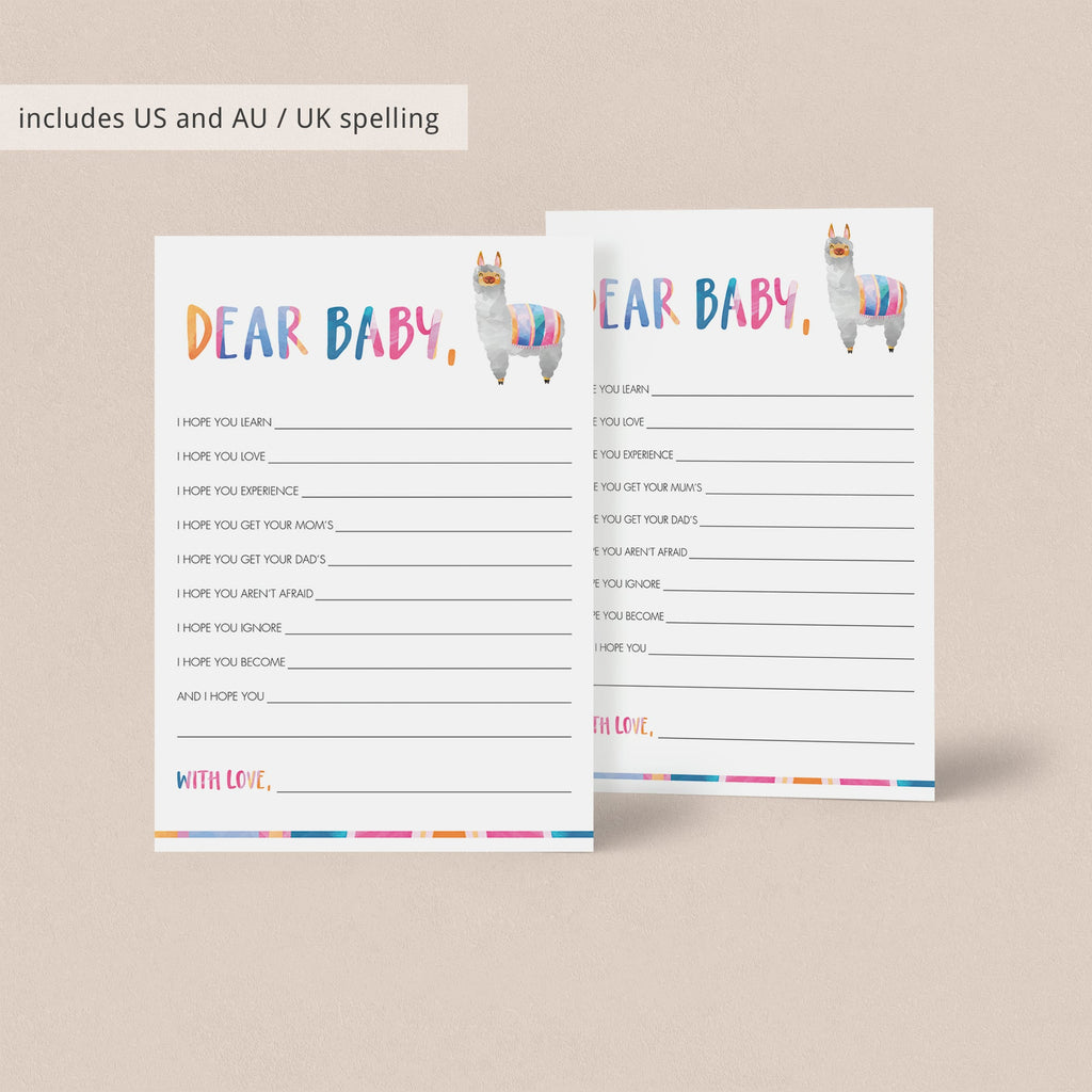 Dear baby cards for summer baby shower instant download by LittleSizzle