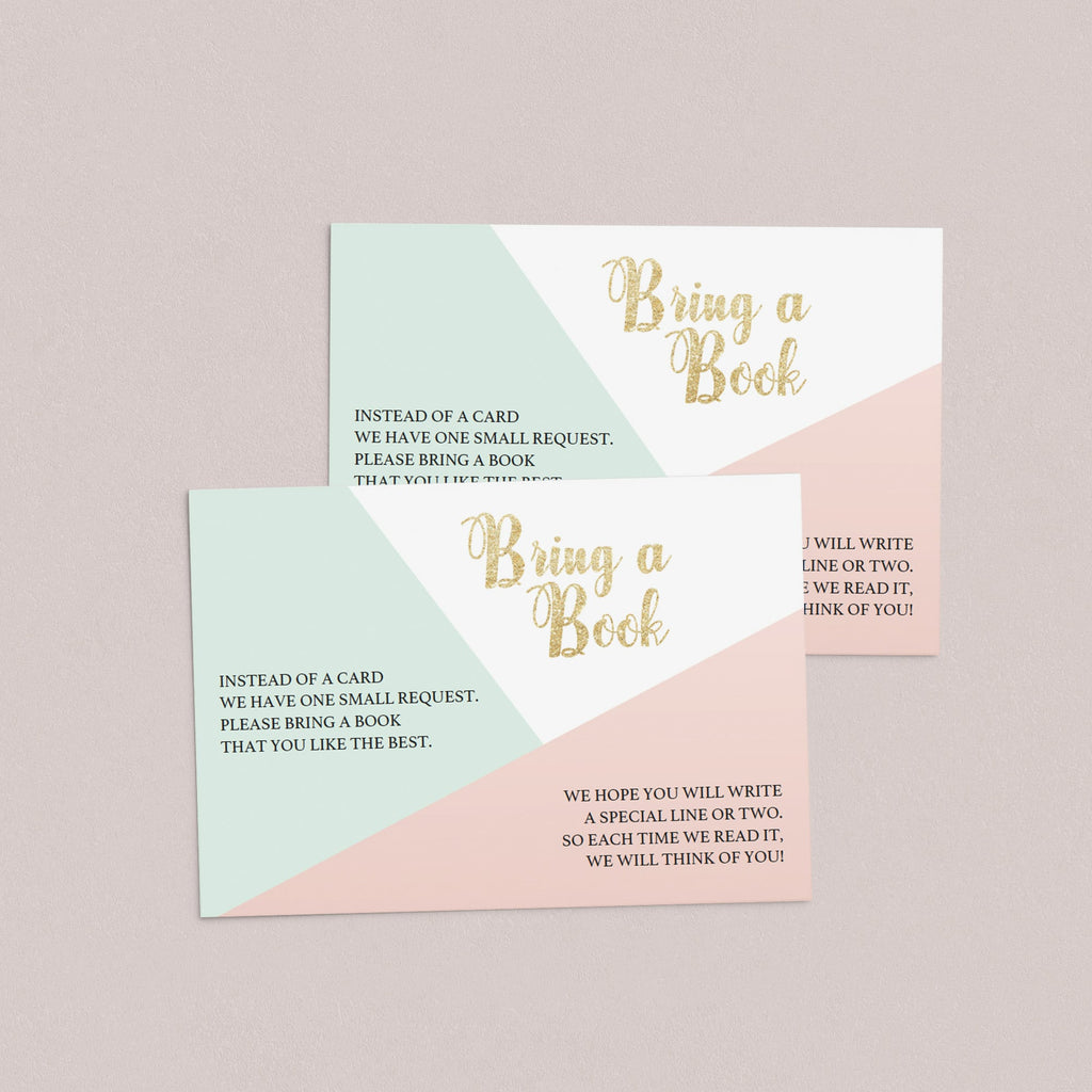 Close-up Pink and Gold Pastel Baby Shower Invitation Insert by LittleSizzle