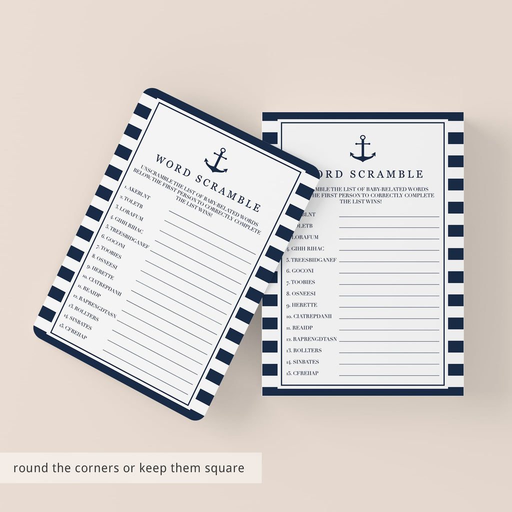 Baby Word Scramble printable game cards for nautical baby shower by LittleSizzle