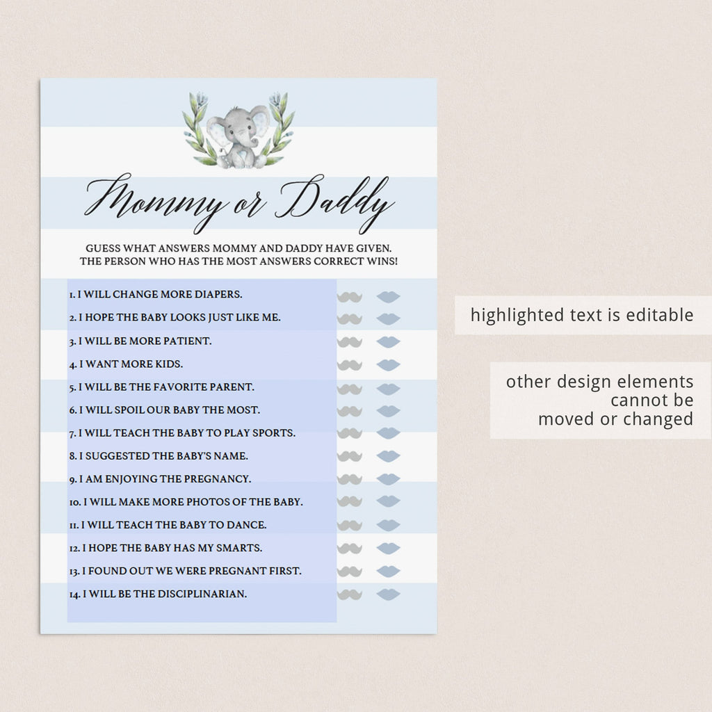 Coed baby shower game mommy or daddy quiz printable by LittleSizzle