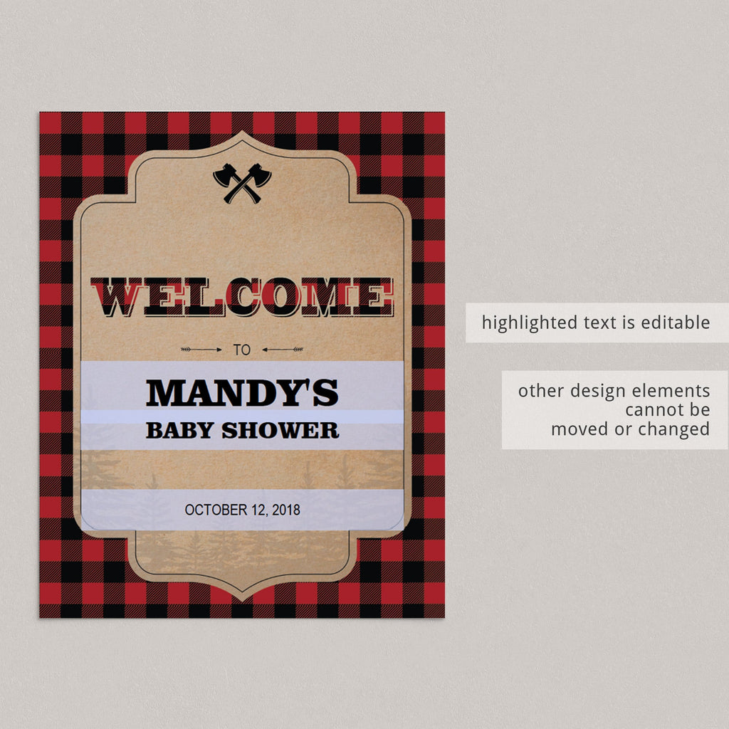 Editable welcome sign lumberjack party by LittleSizzle