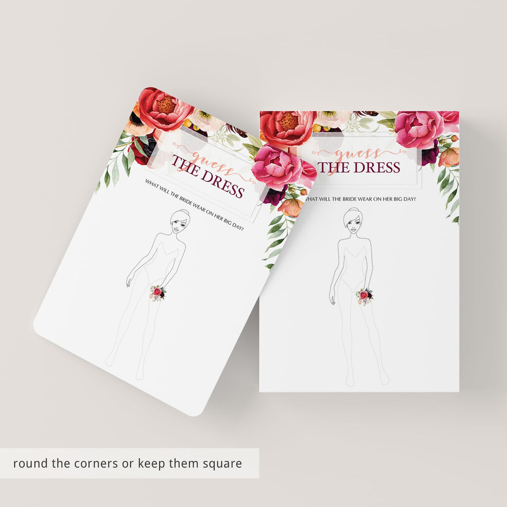 best guess the dress bridal shower cards