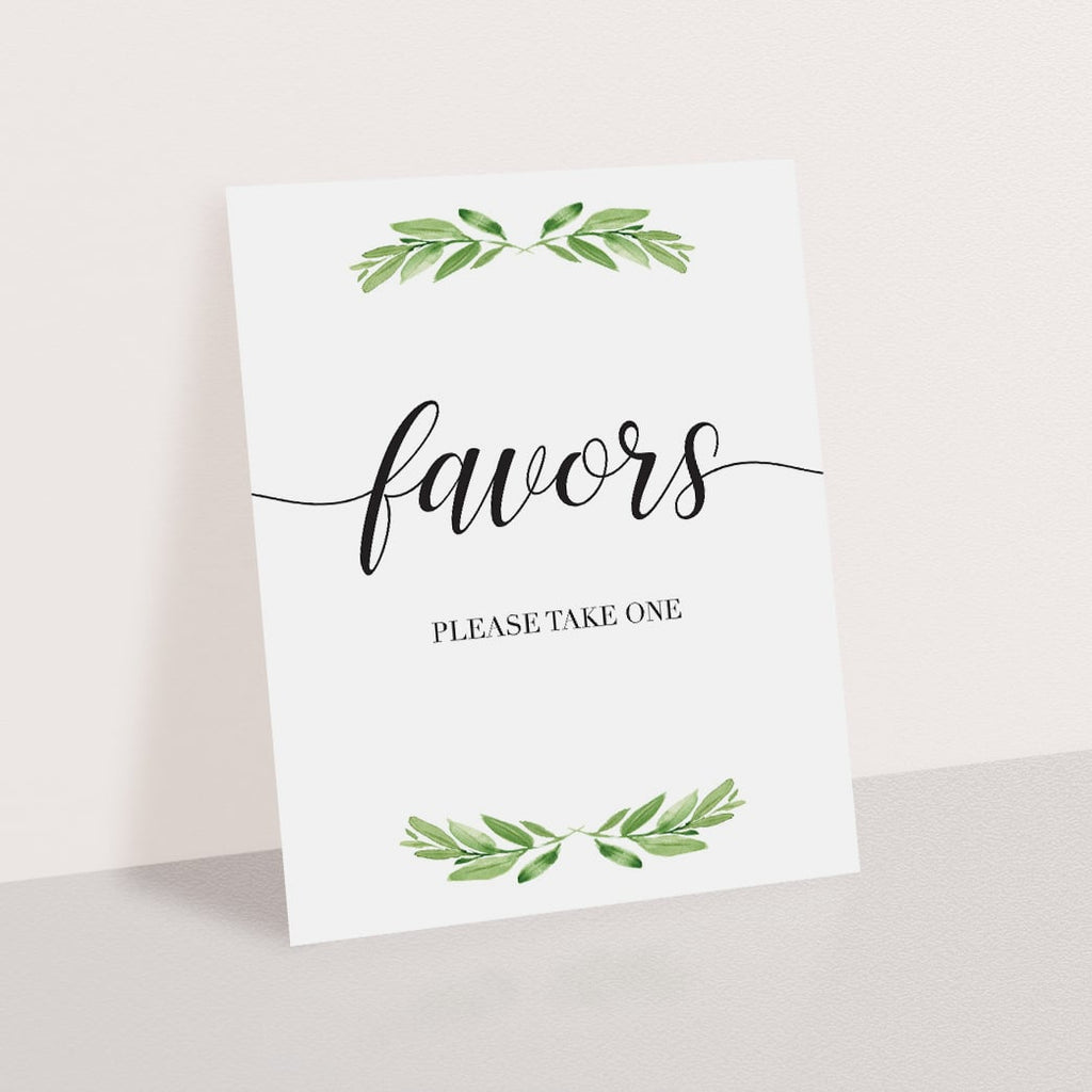 Favor sign greenery theme printable by LittleSizzle