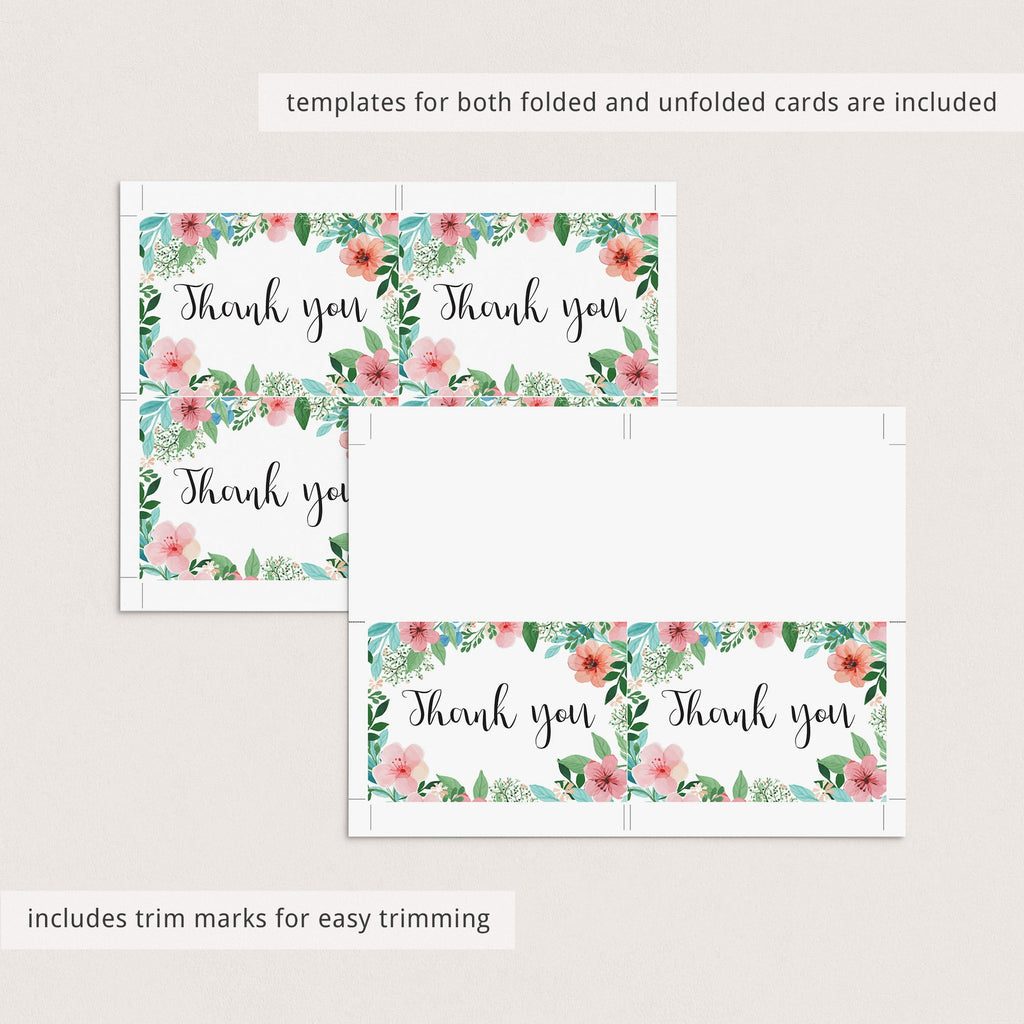 Pink and green floral thank you note cards instant download by LittleSizzle