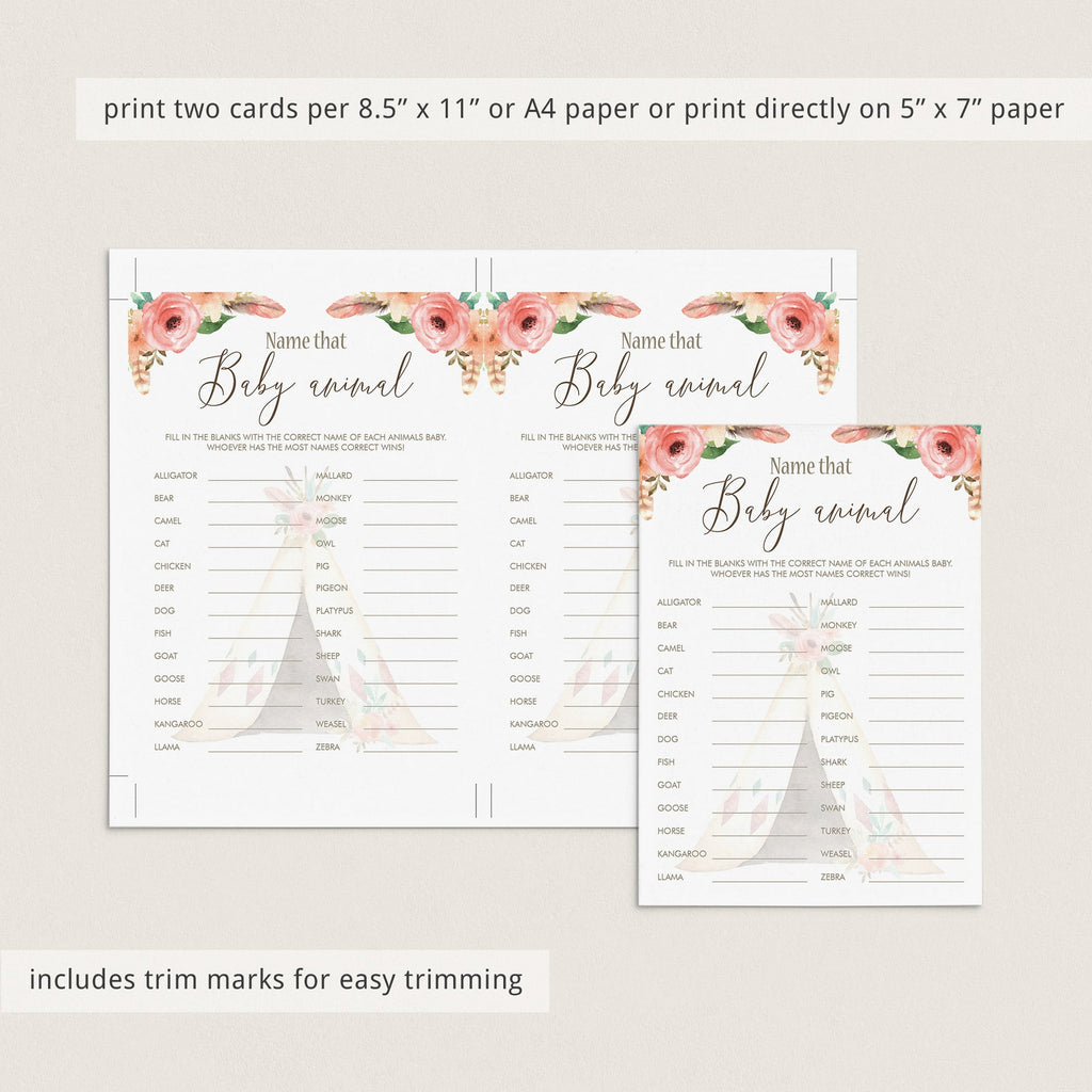 Name That Baby Animal Shower Game Printable Floral Teepee
