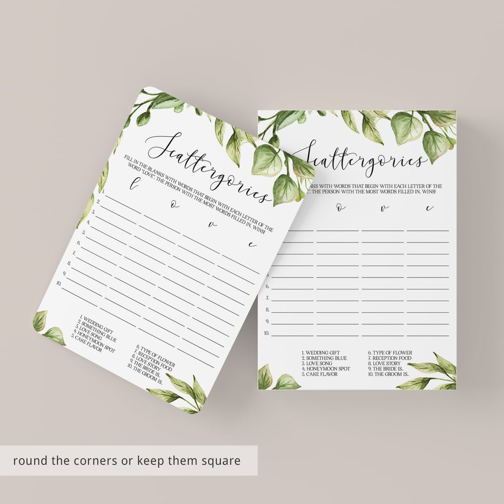 Scattergories Bridal Shower Game Ideas Printable