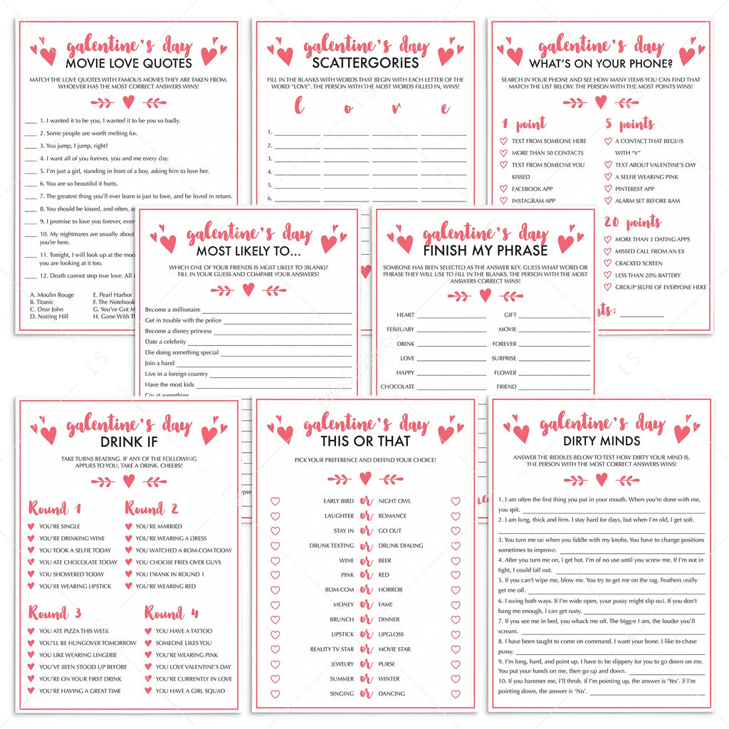 8 Fun Galentines Day Party Games Instant Download Littlesizzle