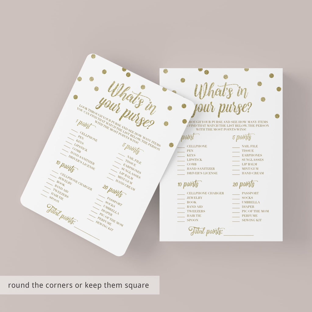 Printable Purse Game for Gold Theme Baby Shower