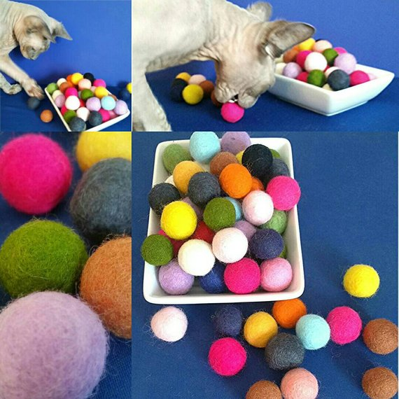 6 Pk-SMALL Felted Bouncy Ball Cat Toy