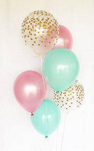 Pink Mint Gold Confetti Latex Balloons
