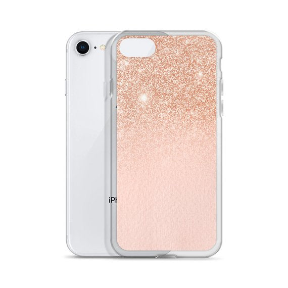 Ombre Glitter Rose Gold Nude Pink iPhone Case
