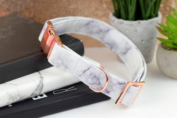 Dog Collar - White/Gray Marble Print