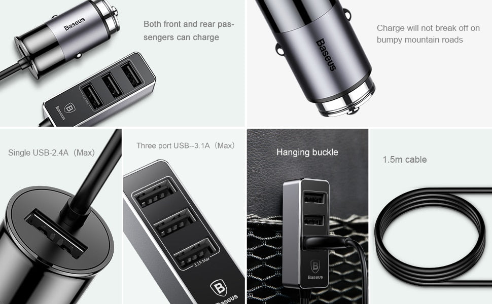USB Multiple Car Charger 5.5A 4 Ports Fast Car-Charger