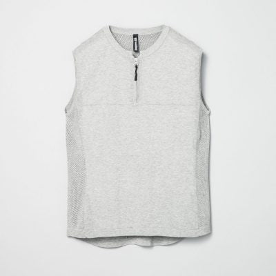 No Sleeve Mesh Knit Half Zip CN