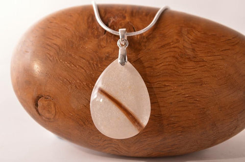 Resin teardrop pendant with sterling silver bail