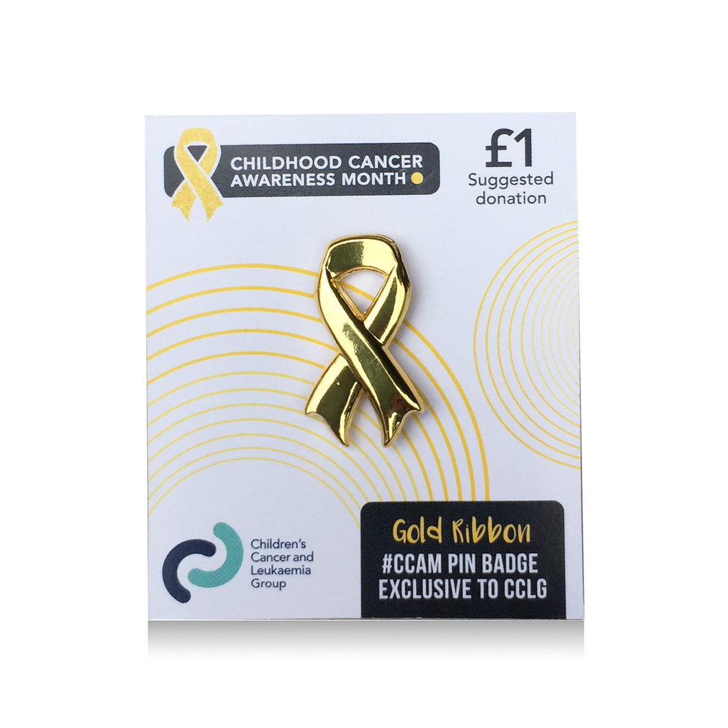 Gold Ribbon Pin Badge - CCLG