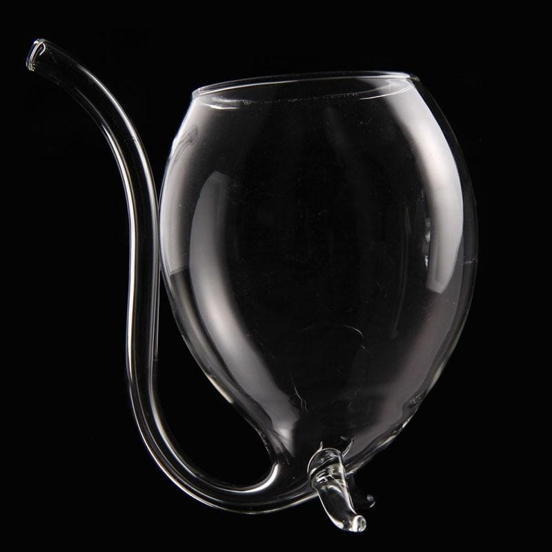 wine glass with built in straw red white rose side black