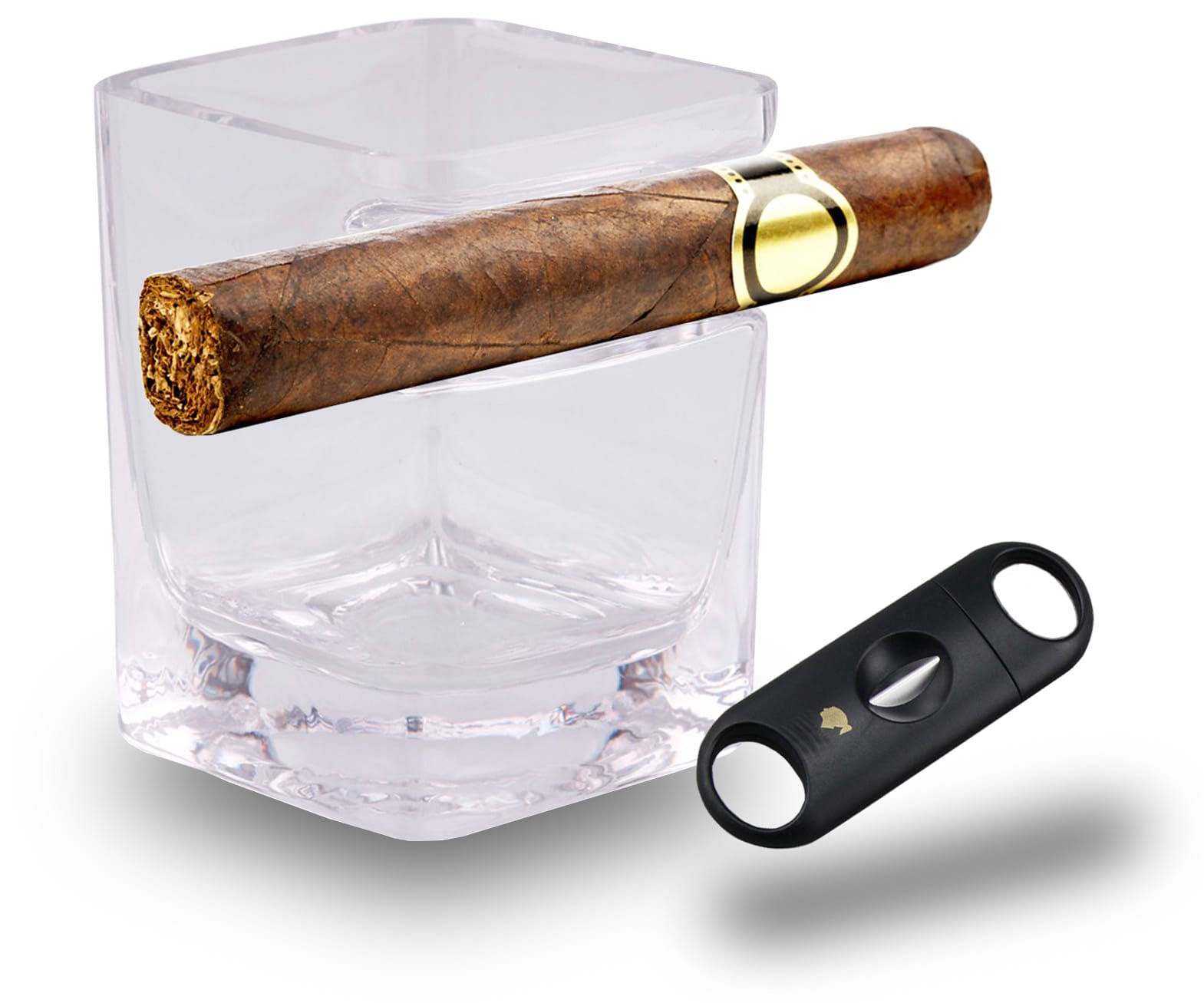 whiskey glass with cigar holder for whisky 300 ml V shaped cutter stainless steel
