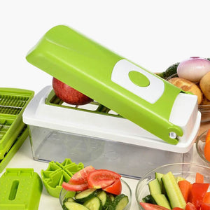 12 in 1 set vegetable fruit slicer grater cutter adjustable washable stainless steel plastic multifunctional blade tool gadget main