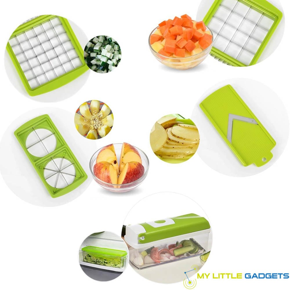 12 in 1 set vegetable fruit slicer grater cutter adjustable washable stainless steel plastic multifunctional blade tool gadget examples