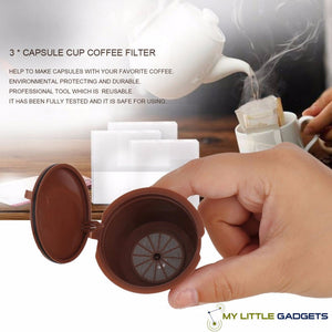 3 Pcs Universal Refillable Nespresso Dolce Gusto Coffee Capsule Cafe Baskets Krups with text