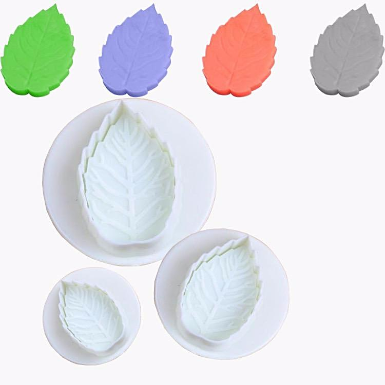 3 Size Cake Rose Leaf Plunger Decorating Sugar Craft Mold Cutter