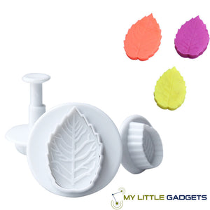 3 Size Cake Rose Leaf Plunger Decorating Sugar Craft Mold Cutter 2