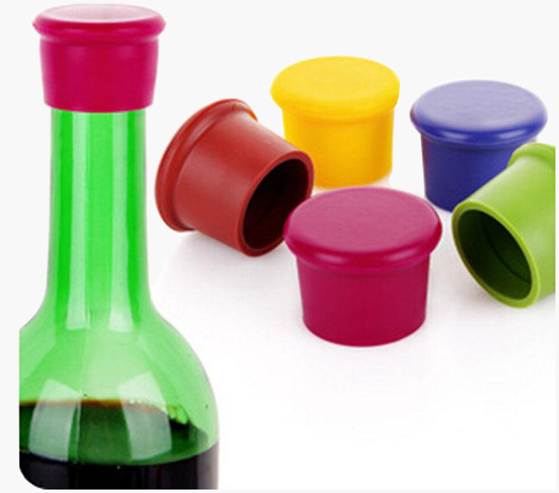 5pc Wine Bottle Stopper Silicone Bar Tool Preservation Kitchen Champagne Plug Beverage Closures 01