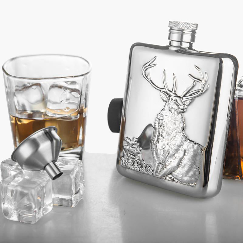 Stainless Steel Personalized Hip Flask 6 OZ Bear Deer Buffalo with Funnel for Alcohol Whiskey