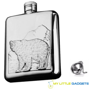 Bear Stainless Steel Personalized Hip Flask 6 OZ with Funnel for Alcohol Whiskey