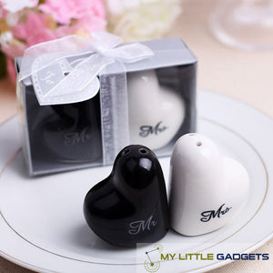 Wedding Gift Heart Ceramic Mr. and Mrs. Salt and Pepper Shakers Set Favors