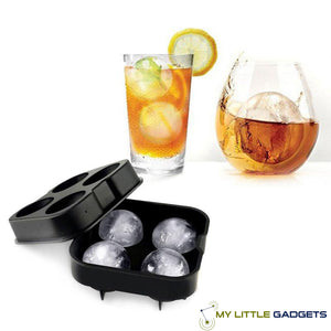 whiskey cocktail ice ball mold maker for whisky silicone large 4 pc Tray cool gift lover glass