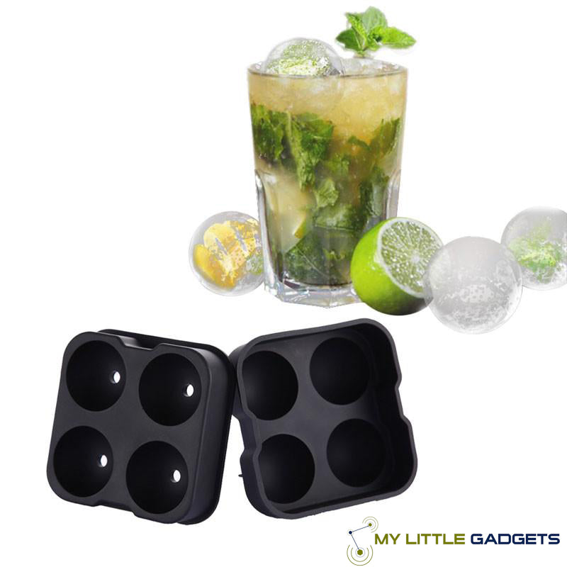 whiskey cocktail ice ball mold maker for whisky silicone large 4 pc Tray cool gift lover mlg