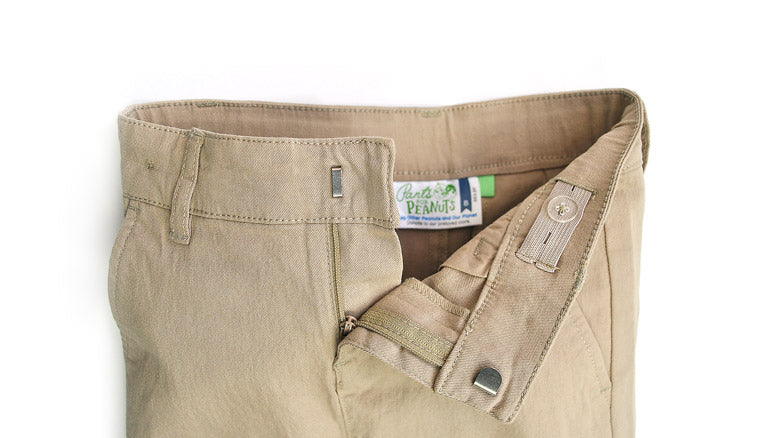 Adjustable Waist Khaki Slim-Fit Kids Twill Uniform Pants / Pants for Peanuts