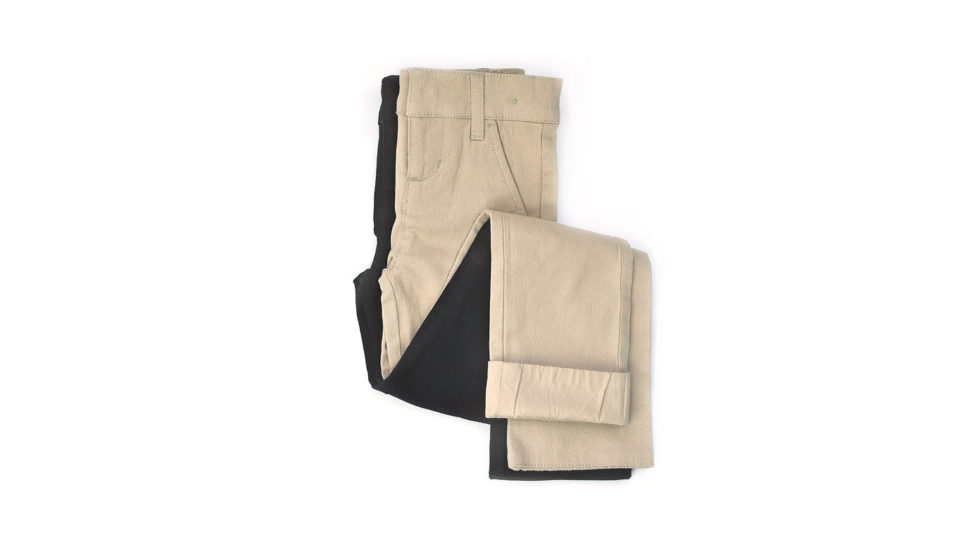 Slim-Fit Adjustable Waist Twill Chinos in Black and Tan - Best Slim-Fit Uniform Pants for Tall Skinny Toddlers and School-Age Kids / by Pants for Peanuts