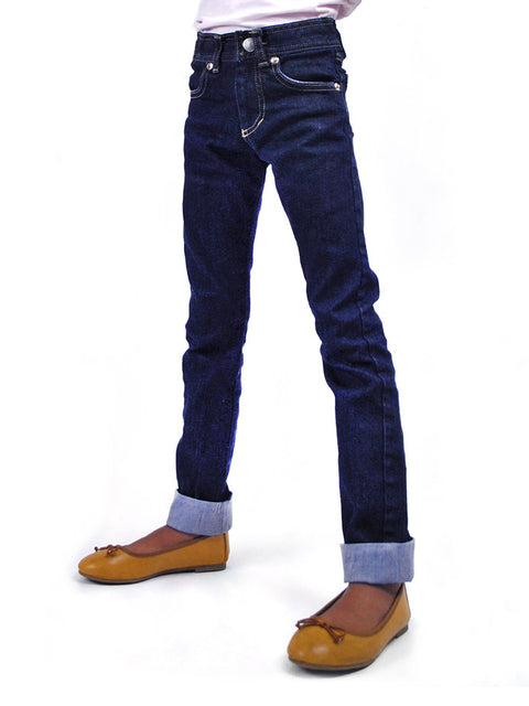 Close Up of Kids Slim-Fit Jeans with Cuff for Added Length
