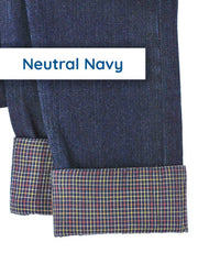 Gender Neutral Kids Slim-Fit Jeans with Adjustable Length Cuff in Navy Plaid