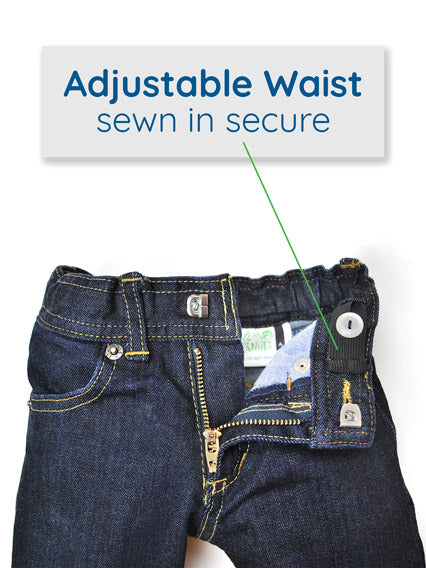 Adjustable Waist Slim-Fit Kids Jeans with Hook and Eye Closure