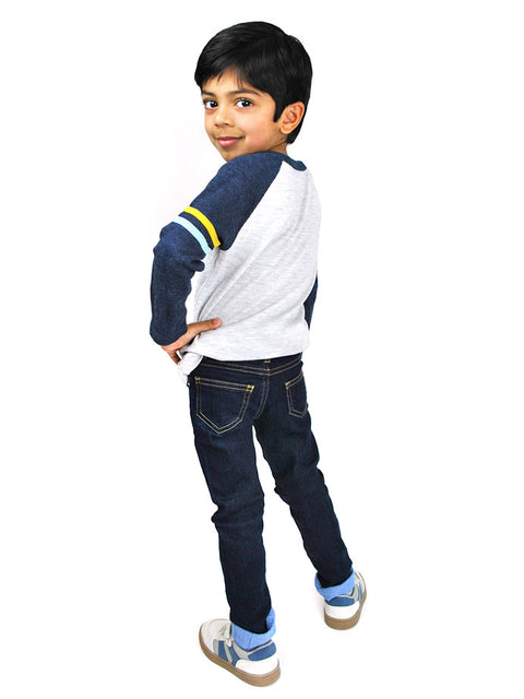 Toddler Boy Wearing Adjustable Waist Slim-Fit Jeans with Cuff