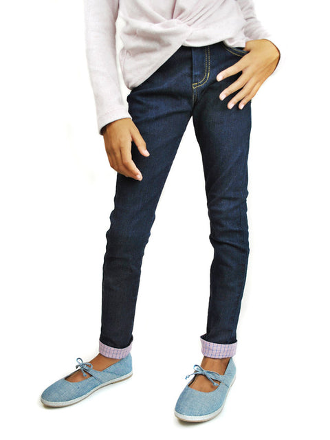 Little Girl Wearing Slim-Fit Jeans with Adjustable Waist and Length with Pink Cuff