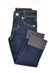 Boys or Girls Slim-Fit Jeans with Adjustable Waist and Cuff in Navy Plaid