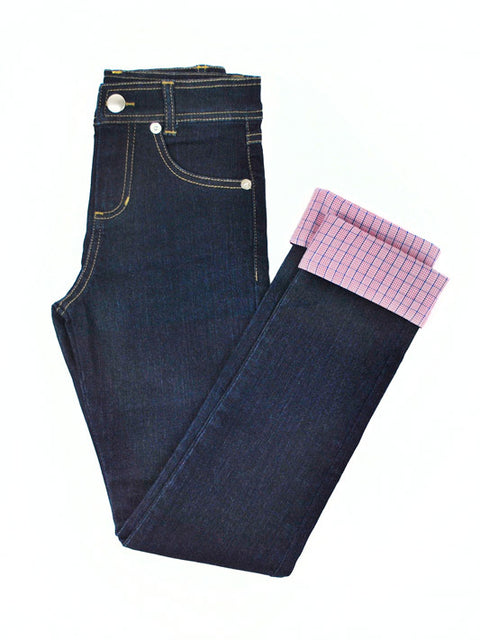 Little Girls Slim-Fit Jeans with Adjustable Waist and Length with Pink Cuff