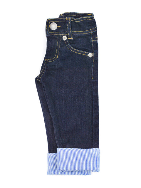 Girls or Boys Slim-Fit Jeans with Adjustable Waist + Pinstripe Cuff