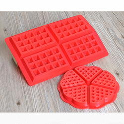 2 Pcs Heart and Rectangles Silicon Waffle Maker Baking Mold