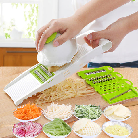 5 in 1 Multi-function Vegetable Fruit Slicer Cutter Grater Dicer Changeable Stainless Steel Blades