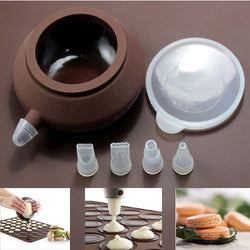 Silicon Piping Pot For Baking or Decorating Cakes (incl 4 Nozzle Set)